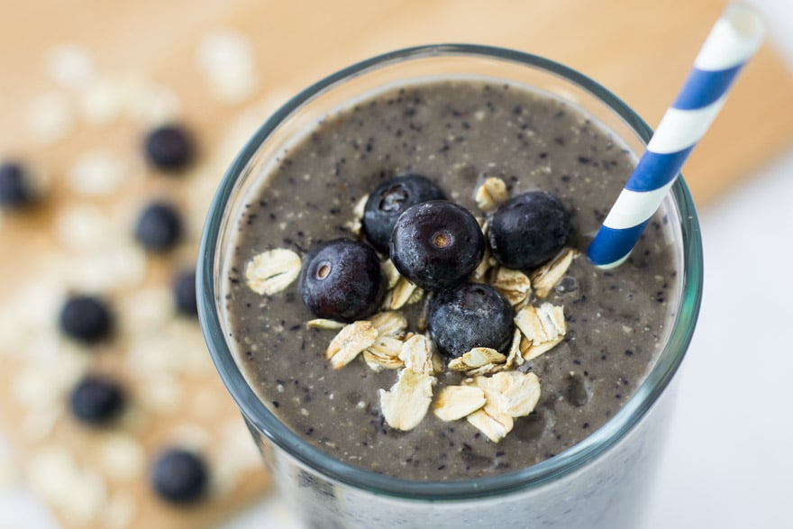 Breakfast smoothie with blueberries, banana, yogurt and oatmeal