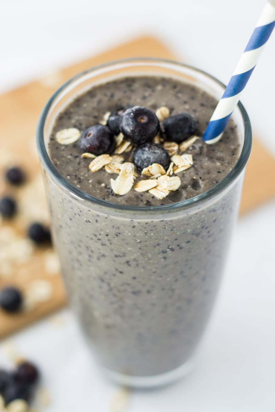 This Blueberry Banana Oatmeal Smoothie is a delicious way to start your morning!