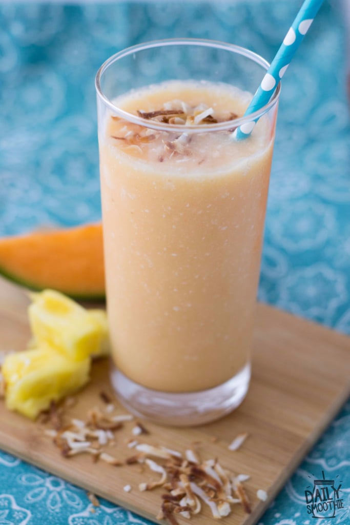 This yummy cantaloupe smoothie recipe is a refreshing drink for summer! It's also dairy-free for those of you with dairy allergies or sensitivities.