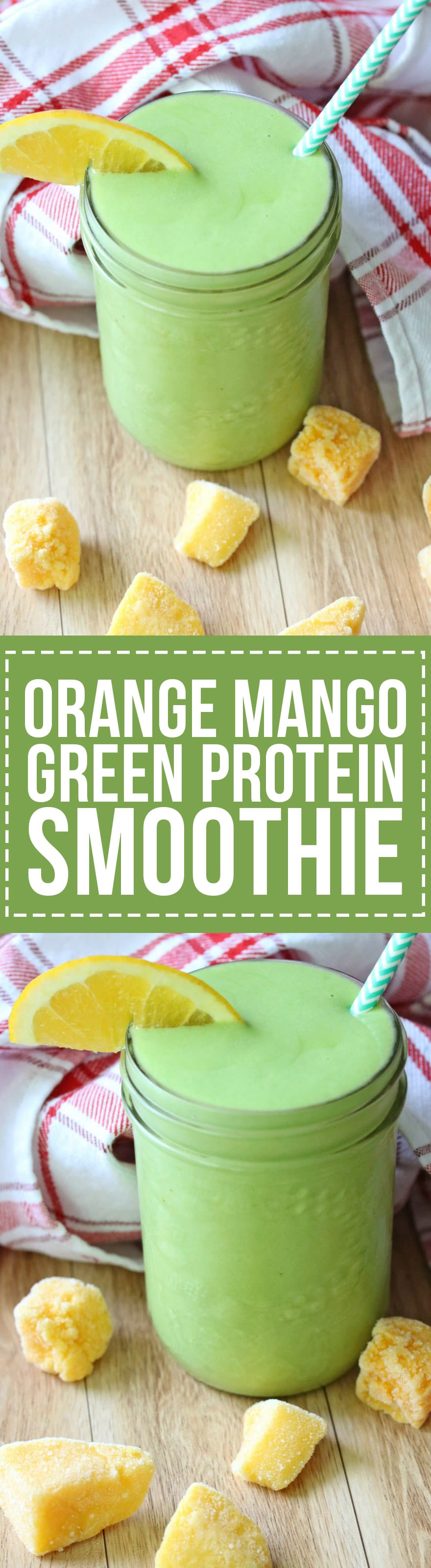 This Orange Mango Green Protein Smoothie is a great breakfast or post-workout pick-me-up with mango, orange juice, avocado, spinach, almond milk and your favorite protein powder.