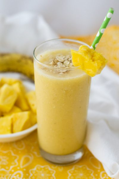 Tropical Breakfast Smoothie with Pineapple and Coconut Milk